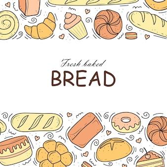 Produtos de padaria banner são desenhados no estilo de bolo de pão preto e branco rabiscos