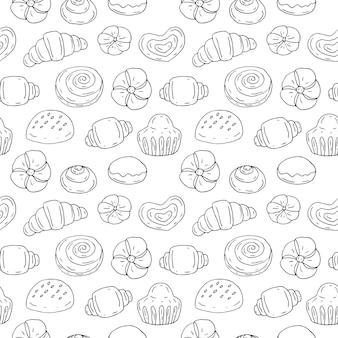Produtos de padaria de padrão uniforme, ilustração vetorial, esboço