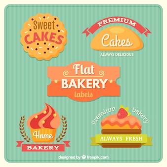 Produtos de padaria deliciosas planas adesivos