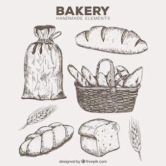 Produtos de panificação desenhados mão com a cesta e farinha