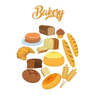 Produtos de panificação e ícones de comida