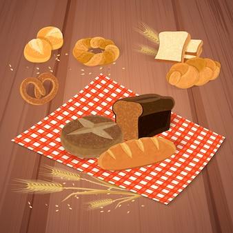 Produtos de pão com refeição e ilustração de alimentos frescos
