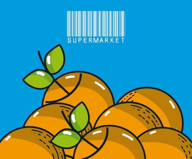 Produtos de super mercado de laranjas doces