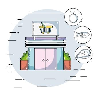 Produtos de supermercado frescos e alimentos nutritivos ilustração vetorial