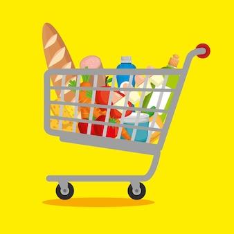 Produtos de supermercado no carrinho de compras