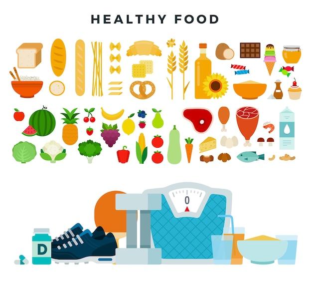 Produtos dietéticos orgânicos saudáveis para fazer dieta