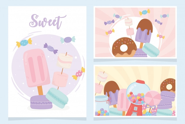 Produtos doces confeitaria sorvete biscoitos doces lanche cartões