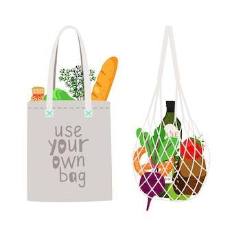 Produtos ecológicos naturais desenhados à mão em uma sacola de linho e uma sacola de barbante