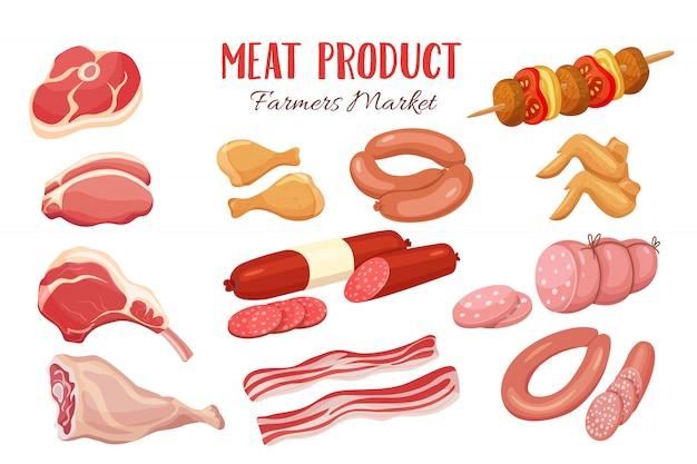 Produtos gastronômicos de carne em estilo cartoon.
