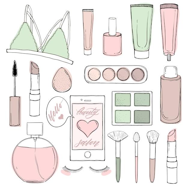 Produtos impressos para um salão de beleza e cosméticos, para blogueiros e sites.