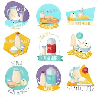 Produtos lácteos conjunto de logotipos