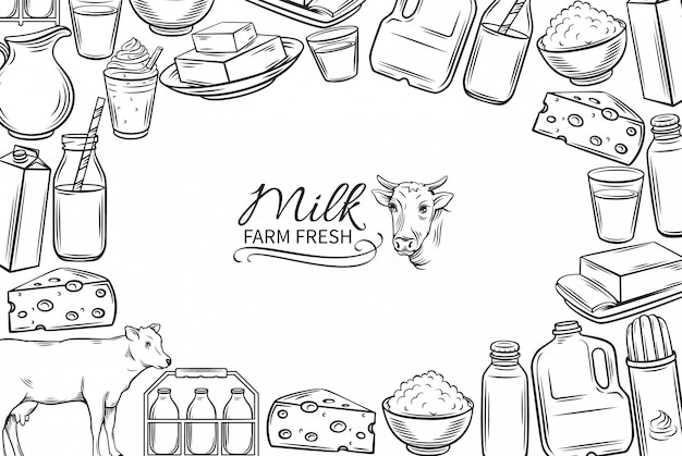 Produtos lácteos desenhados à mão