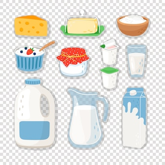 Produtos lácteos dos desenhos animados em transparente