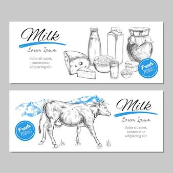 Produtos lácteos e paisagem de fazenda com vaca