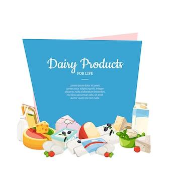 Produtos lácteos e queijo dos desenhos animados com copyspace