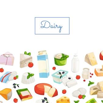 Produtos lácteos e queijo dos desenhos animados com ilustração copyspace