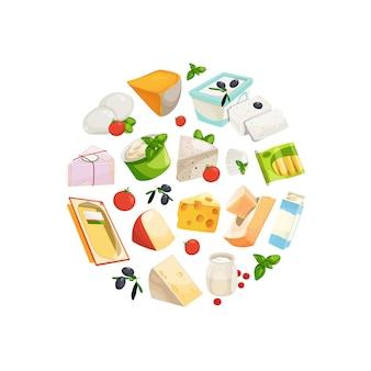 Produtos lácteos e queijo dos desenhos animados na ilustração de forma de círculo
