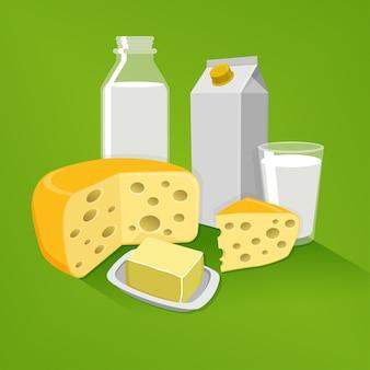 Produtos lácteos em um fundo verde