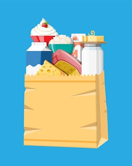 Produtos lácteos em uma sacola de papel com queijo, cottage e manteiga. laticínios. produtos agrícolas frescos tradicionais. ilustração vetorial em estilo simples
