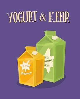 Produtos lácteos, embalagens de kefir e iogurte