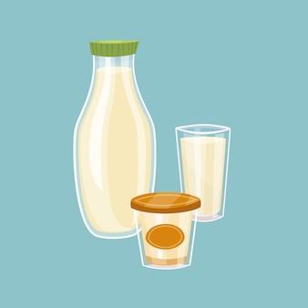 Produtos lácteos isolados em azul