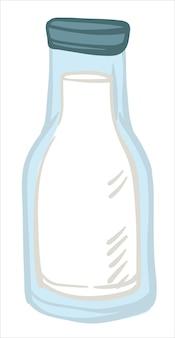 Produtos lácteos leite fresco derramado em garrafa de vidro