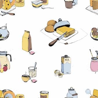 Produtos lácteos mão desenhada sem costura padrão. variedade de agricultura láctea. ilustração colorida sobre fundo branco.