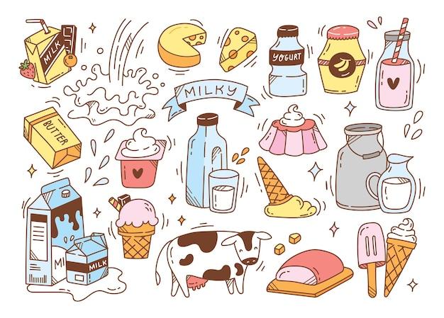 Produtos lácteos rabiscos desenhados à mão