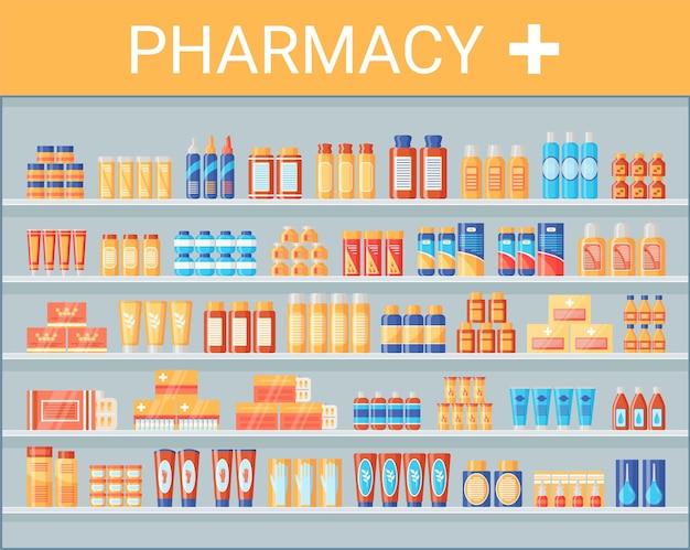 Produtos médicos na prateleira da farmácia. prateleiras de drogarias com remédios e medicamentos. frascos de comprimidos, pacotes de cápsulas de xarope de líquidos, em lojas farmacêuticas de hospitais. design plano. ilustração vetorial