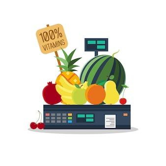 Produtos naturais, legumes e frutas em escalas.