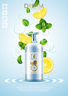 Produtos naturais para cuidados com a pele com folhas e limão