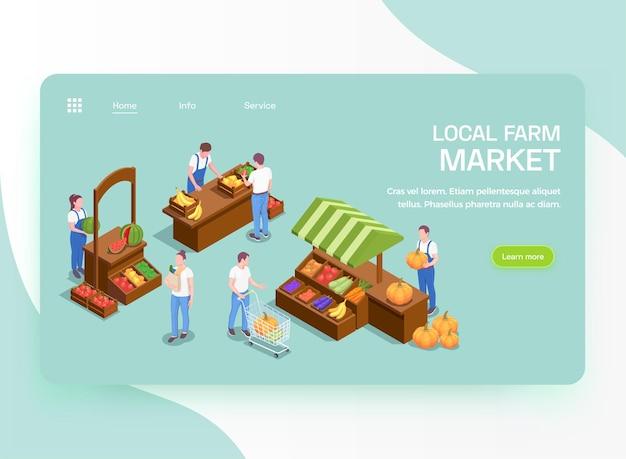 Produtos orgânicos frescos de agricultores locais oferecem página de destino isométrica com ilustração de barracas de mercado de frutas e legumes