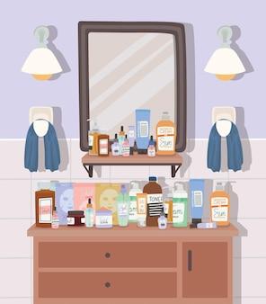 Produtos para a pele em uma ilustração de banheiro
