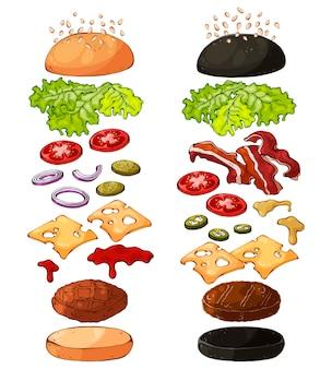 Produtos para cozinhar hambúrgueres.
