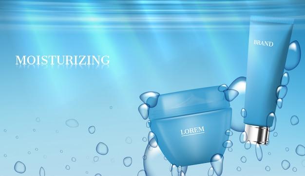 Produtos para cuidados com a pele debaixo d'água