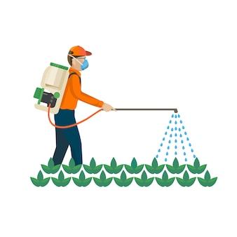 Produtos químicos agrícolas são esterilizados pelo fazendeiro sobre as plantas