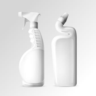 Produtos químicos de limpeza doméstica de garrafas de maquete 3d de banheiro e banheiro mais limpo