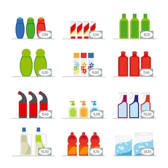 Produtos químicos domésticos e produtos de limpeza ícones planos de garrafas