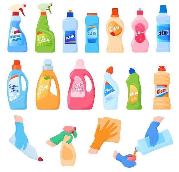 Produtos químicos domésticos um conjunto de diferentes ferramentas para limpar a casa, lavar pratos