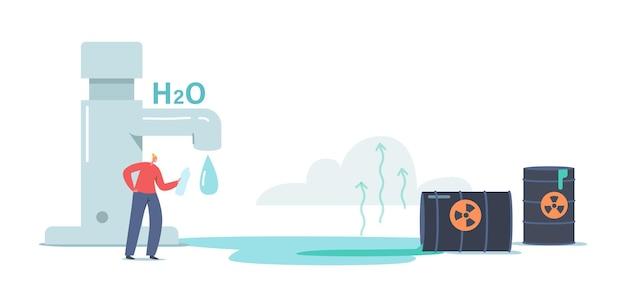 Produtos químicos na água, conceito de poluição. minúscula personagem feminina bebe água da garrafa na torneira enorme com água pingando, barris despeje resíduos líquidos tóxicos no rio ou lagoa. ilustração em vetor de desenho animado