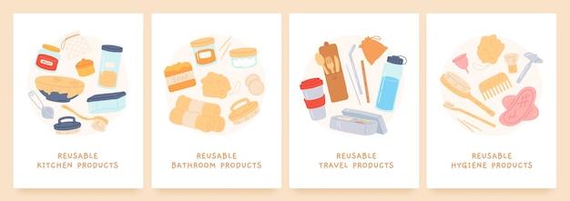 Produtos reutilizáveis. zero desperdício de itens duráveis para cozinha, banheiro, higiene e viagens. eco amigável. reduza o conceito de vetor de poluição de plástico. canudo natural reutilizável de ilustração, sem plástico