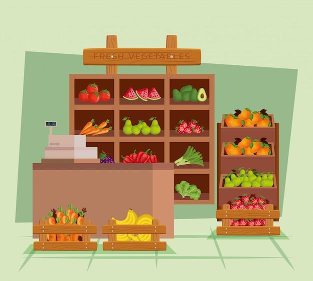 Produtos saudáveis para frutas e legumes frescos