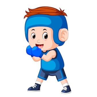 Profesional atletes menino joga boxe