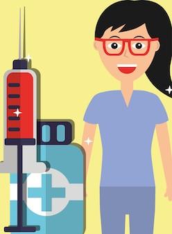 Profesional médico feminino e seringa medicina frasco