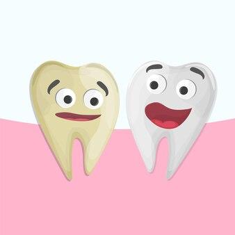 Professional teeth whitening, cartoon saudável e dente amarelo, ilustração vetorial. ilustração médica - atendimento odontológico