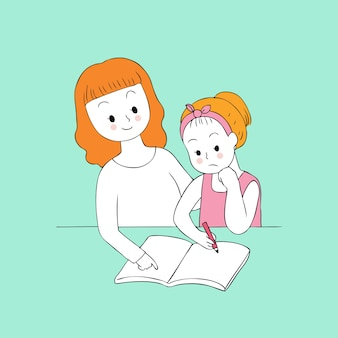 Professor bonito dos desenhos animados e vetor esperto da menina.