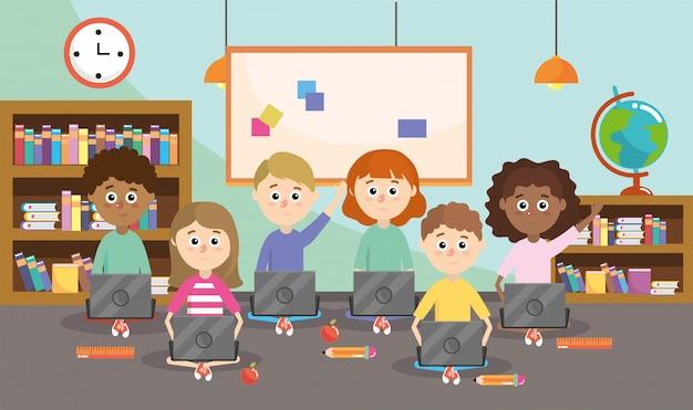 Professor com alunos e material escolar de laptop