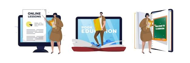 Professor com conjunto de ilustração de aprendizagem online