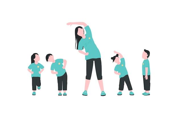 Professor com crianças exercitando personagens sem rosto em cores planas