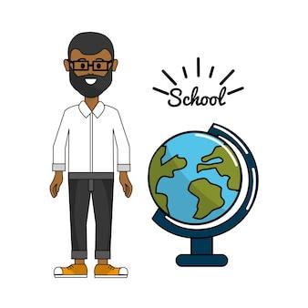 Professor com decoração de mesa de planeta terra